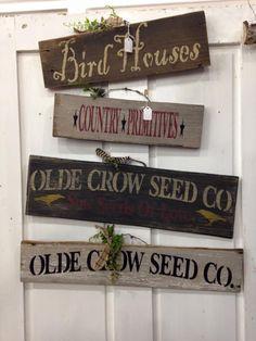 Stencil sign display, prim stencil, primitive stencils, old door display, barn wood stencil,