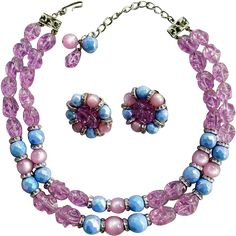 Fabulous vintage necklace and earrings, Hobe' Parure in lavender, blue and silver from the 1960s. This is a Stunning Set! Minty and ready to Wow her