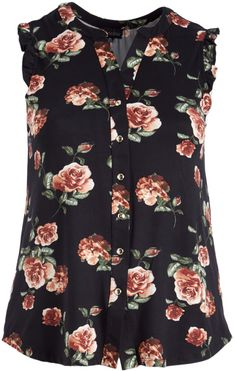 Black Floral Button-Up Sleeveless Top - Plus