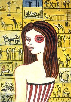 """Dino Buzzati, I misteri dei condomini, 1965 - """"Nei grandi palazzi condominiali delle metropoli succedono tante cose, nella terzultima stanza a destra per esempio in questo momento è entrato un vampiro. In quanto alla donna in primo piano, che nasconde purtroppo alcune abitazioni interessanti, è Consuelo Fabian, che abita nella casa e fa la donna bersaglio nei baracconi."""""""