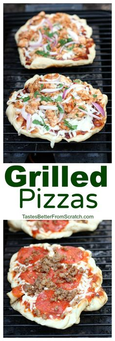 The easiest and most delicious way to eat pizza! We LOVE these grilled pizzas and they're so easy to make from home! On MyRecipeMagic.com