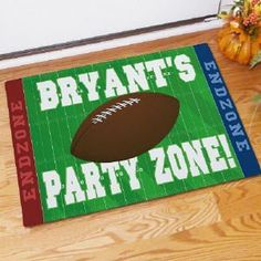 """Football Party Zone Personalized Doormat . $24.98. Personalized Football Party Zone Doormat - Football Bowl Gift IdeasWelcome all your rowdy football fans to your house for the big game this weekend with a Personalized Football Party Zone Doormat. Everyone will be ready to cheer on the home team while having a great time at your home. Please choose between two great sizes 18"""" x 24"""" or 24"""" x 36"""". Both are safe for outdoor or indoor door mat use. Our Football Party Zone Personali..."""