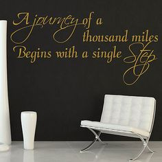 Wall Sticker Quote - Inspirational Journey of Thousand Miles Motivational Art on eBay!