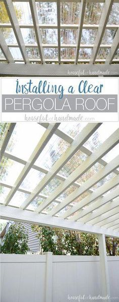 Turn your patio pergola into a three season porch with a new roof! Adding a clea… Turn your patio pergola into a three season porch with a new roof! Adding a clear pergola roof is the perfect weekend DIY. See how easy it is at Housefulofhandmad…. Diy Pergola, Building A Pergola, Pergola Canopy, Deck With Pergola, Wooden Pergola, Outdoor Pergola, Pergola Shade, Pergola Plans, Outdoor Rooms