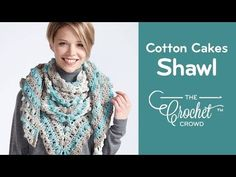 How to Crochet Caron Cotton Cakes Shawl: Make a Point Shawl - YouTube