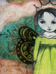 """""""Butterfly Princess"""" 5x7 mixed media painting. (as seen in Somerset Studio)"""