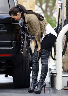 76d6bb66013 Celebrities in Boots  Kim Kardashian in Christian Louboutin Thigh High Boots.  Los Angeles