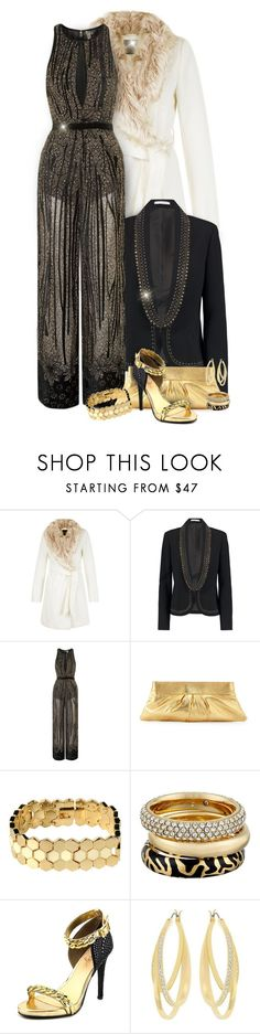 """Velvet Burnout Jumpsuit Outfit"" by helenehrenhofer ❤ liked on Polyvore featuring Diane Von Furstenberg, Topshop, Lauren Merkin, Marc by Marc Jacobs, Michael Kors, Trilogy, Fergie and Swarovski"