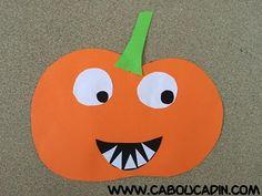 voici un bricolage d'Halloween pour des enfants de classe de maternelle ou garderie. cette activité est de faire une citrouille avec des feuilles colorées.