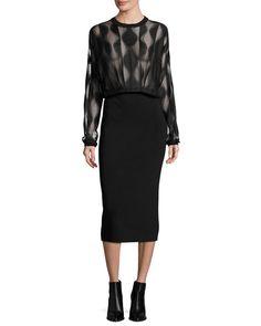 Long-Sleeve Blouson Combo Dress, Black