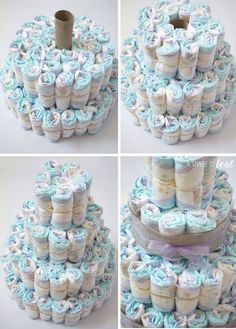 How to make a diaper cake #diapercake #babyshower