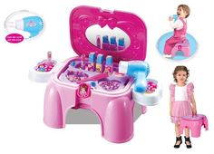 2017 Juguetes Kids Kitchen New Beautiful Happy Girl Makeup Dressing Table Stool Chairs Game Play House Toys For Children Gift Toys For Girls, Kids Toys, Children Play, Kids Girls, Kids Salon, Minnie Mouse, Kit, Imaginative Play, Classic Toys
