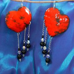Red Heart Earrings on Copper with Sterling, Onyx and Swarovskis