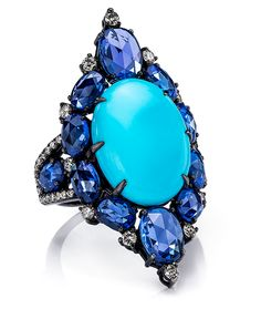 Cellini Jewelers Sutra Jewels Turqoise and Sapphire Ring … Turquoise Jewelry, Gemstone Jewelry, Gold Jewelry, Vintage Jewelry, Fine Jewelry, Stylish Jewelry, Luxury Jewelry, Jewelry Making, Brighton Jewelry
