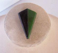 Vintage BAKELITE Dress Clip, Laminated Bakelite, Art Deco Motif, Green and Black Bakelite