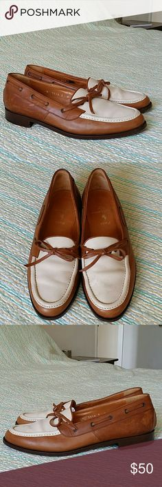 Polo Ralph Lauren Brown & Cream Italian Leather 9 Polo Ralph Lauren Brown & Cream Italian Leather Driving Loafers Mens Size 9 D Polo by Ralph Lauren Shoes Loafers & Slip-Ons
