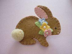 Felt Bunny Brooch Spring Beaded Flowers Felted by pennysbykristie,