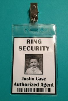 How adorable is this security tag for the ring bearer?!