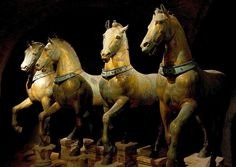 The set of bronze horses now in San Marco Museum, decorated for many centuries the Hippodrome of Constantinople, but their origin remains mysterious. They have been attributed to the 4th century BC Greek sculptor Lysippos, but this is not widely accepted