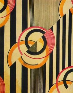 Lines and circles textile design, Russia, Soviet Union, 1924, by Liubov Popova.