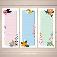 Colorful to do list collection with flat design Free Vector Planner Pages, Printable Planner, Planner Stickers, Flower Graphic Design, Graphic Design Templates, Bullet Journal Banner, Bullet Journal Books, Design Plat, Poster Background Design