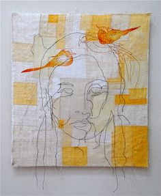 "Chung-Im Kim 'unni' 2004 18"" x 16"" ramie, hemp, natural dyes, stencil, machine & hand stitching. Click to enlarge"