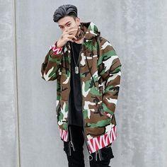 Bad Boy - Camouflage Jacket - Lilly is Love Cute Asian Guys, Cute Korean Boys, Urban Fashion, Boy Fashion, Handsome Asian Men, Camouflage Jacket, Japanese Street Fashion, Korean Male Fashion, Trench Jacket