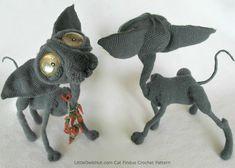 095 Cat Sphynx Findus with wire frame Amigurumi Crochet