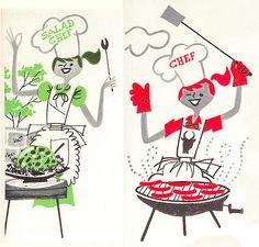retro Knox Salad Book: Two Chefs Illustrations Vintage, Illustration Art, Retro Housewife, Vintage Cooking, Book Posters, Retro Recipes, Le Chef, Vintage Cookbooks, Retro Art