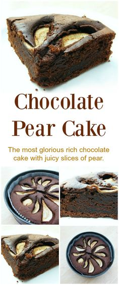 Rich Fudgey Chocolate Cake with slices of juicy pear. A real treat and a very easy bake. Be sure to try it soon!