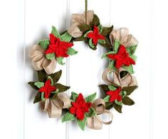 11 FREE Crochet Wreath Patterns: Poinsettia Crochet Christmas Wreath FREE Pattern