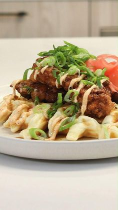 Inspired by Tokyo Hot Fried Chicken in Toronto, this Japanese karaage chicken is paired with a green onion pancake and a sweet soy maple syrup and drizzled with togarashi mayo. Easy Dinner Recipes, Dinner Ideas, Green Onions, Fried Chicken, Slow Cooker Recipes, Food Network Recipes, Entrees, Waffles, Spicy