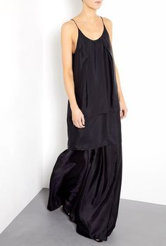 Black Satya Long Silk Tiered Hem Maxi Dress - Acne
