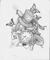 small alice in wonderland tattoo that can be added to a half sleeve