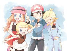 Serena, Bonnie, Ash and Clemont
