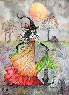 Witch Cat Autumn Fine Art Print by Molly Harrison 'Autumn Reverie' 9 x 12 Giclee