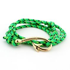 Endless August Multilayer Rope Bracelet pulseras hombre Tom hope Nautical Anchor Sailor Anchor Bracelets men fiendship gifts - Gold Green
