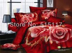 100% algodão 1000tc alta- qualidade de luxo grande flor vermelha rainha king size cama nobre conjunto roupa de cama tampa de cama pin...