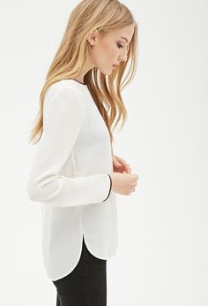 Faux Leather-Trim Blouse | Forever 21 - 2000138742