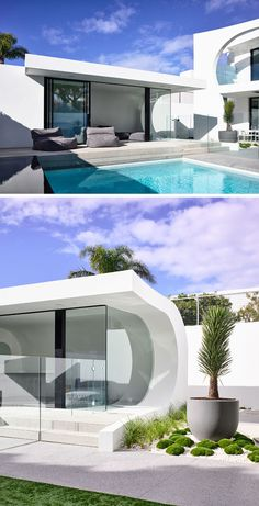 The Cosham Street House by Martin Friedrich Architects- This modern backyard has an infinity edge spa and pool, and a wave style pool house Modern Architecture House, Modern Buildings, Modern Houses, Ultra Modern Homes, Interior Design Minimalist, Street House, Modern Backyard, Pool Houses, Architect Design