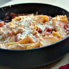 Easy Peasy Skillet Lasagna - lighter, one pot lasagna that is only 7 WW points