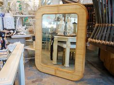 Large Vintage Rattan Wrapped Mirror