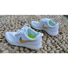 Nike Roshe Run White Gold Womens Mens