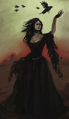"""Morrigan""""Great Queen""""; """"Supreme War Goddess""""; """"Queen of Phantoms or Demons""""; """"Specter Queen""""; shape-shifter. Reigned over the battlefield, helping with her magic, but did not join the battles. Associated with crows and ravens. The Crone aspect of the Goddess; Great Mother; Moon Goddess; Great White Goddess; Queen of the Fairies. In her Dark Aspect (the symbol is then the raven or crow) she is the goddess of war, fate and death; she went fully armed and carried two spears. The carrion crow…"""