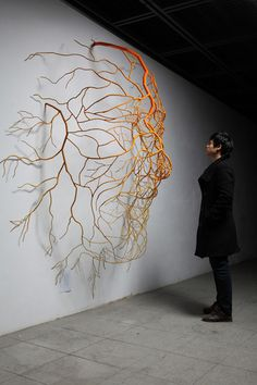 Metal root sculptures created by South Korean artist Sun-Hyuk Kim