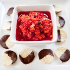 Salsa ~ good with tortilla chip, chocolate covered tortilla chips ...