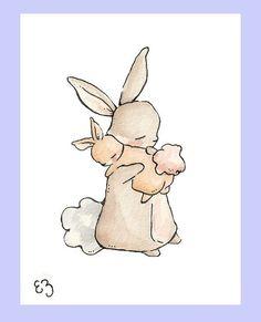 My Baby Bunny. PRINT 8X10. Nursery Art Wall Decor by LoxlyHollow