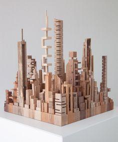 Миниатюрные небоскребы из дерева Cardboard City, Cardboard Box Crafts, Abstract Sculpture, Wood Sculpture, Abstract Art, Home Decor Hooks, Architectural Sculpture, 3d Modelle, Origami Paper Art