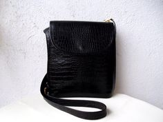 Black genuine leather shoulder bag by BlastFromThePastBags on Etsy, $60.00