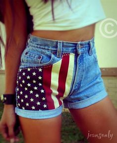 High waisted destroyed American flag shorts by Jeansonly | My ...